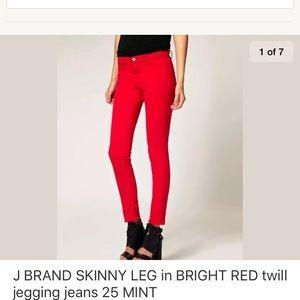J BRAND 811 SKINNY BRIGHT RED twill sateen jeans